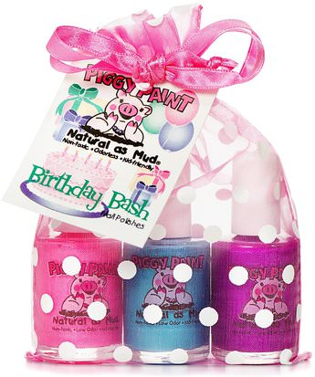 Baño, Belleza, Juegos De Regalo, Cosméticos Conjuntos De Regalo, Maquillaje, Esmalte De Uñas Piggy Paint, Non-Toxic Nail Polishes, Natural as Mud, Birthday Bash, 3 Bottles, 0.5 fl oz (15 ml) Each