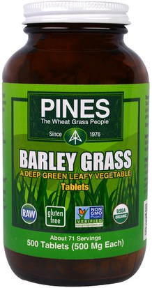 Suplementos, Superalimentos, Hierba De Cebada Pines International, Barley Grass, 500 Tablets