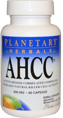 Suplementos, Hongos Medicinales, Ahcc Planetary Herbals, AHCC (Active Hexose Correlated Compound), 500 mg, 60 Capsules