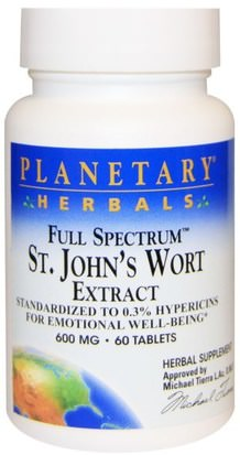 Hierbas, St. Johns Wort Planetary Herbals, Full Spectrum St. Johns Wort Extract, 600 mg, 60 Tablets