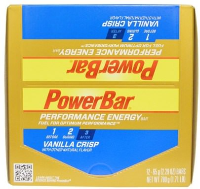 Deportes, Barras De Proteína PowerBar, Performance Energy Bar, Vanilla Crisp, 12 Bars, 2.29 oz (65 g) Each