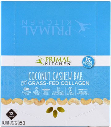 Salud, Hueso, Osteoporosis, Colágeno Primal Kitchen, Coconut Cashew, Grass-Fed Collagen, 12 Bars, 1.7 oz (49 g) Each