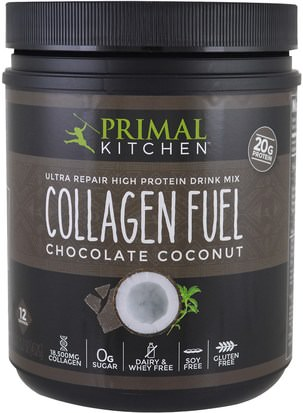 Suplementos, Proteínas, Huesos, Osteoporosis, Colágeno Primal Kitchen, Ultra Repair High Protein Drink Mix, Collagen Fuel, Chocolate Coconut, 15.2 oz (432 g)