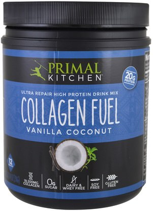 Suplementos, Proteínas, Huesos, Osteoporosis, Colágeno Primal Kitchen, Ultra Repair High Protein Drink Mix, Collagen Fuel, Vanilla Coconut, 14 oz (396 g)
