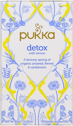 Comida, Té De Hierbas, Piel Pukka Herbs, Detox with Lemon Tea, 20 Herbal Tea Sachets, 0.07 oz (2 g) Each