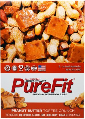 Deportes, Barras De Proteína Pure Fit Bars, Premium Nutrition Bars, Peanut Butter Toffee Crunch, 15 Bars, 2 oz (57 g) Each