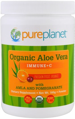 Suplementos, Aloe Vera Pure Planet, Organic Aloe Vera, Immune +C, Passion Fruit Orange, 160 g