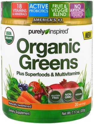 Suplementos, Superalimentos, Verdes Purely Inspired, Organic Greens, Unflavored, 7.17 oz (203 g)