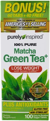 Salud, Dieta Purely Inspired, Pure Matcha Green Tea+, 100 Easy-to-Swallow Veggie Tablets