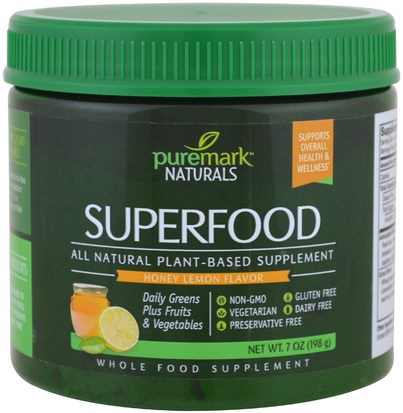 Suplementos, Superalimentos, Verdes PureMark Naturals, Superfood, Honey Lemon Flavor, 7 oz (198 g)