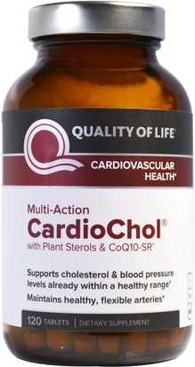 Salud, Colesterol, Colesterol, Presión Arterial Quality of Life Labs, CardioChol with Plant Sterols & CoQ10-SR, Multi-Action, 120 Tablets