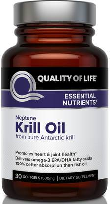 Suplementos, Efa Omega 3 6 9 (Epa Dha), Aceite De Krill, Aceite De Krill Neptuno Quality of Life Labs, Neptune Krill Oil, 30 Softgels