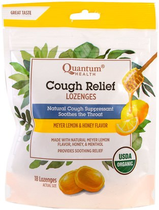 Salud, Pulmonar Y Bronquial, Pastillas Para La Tos Quantum Health, Cough Relief, Lozenges, Meyer Lemon & Honey Flavor, 18 Lozenges