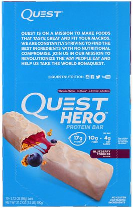 Suplementos, Barras Nutricionales, Deportes Quest Nutrition, Hero Protein Bar, Blueberry Cobbler, 10 Bars, 2.12 oz (60 g) Each