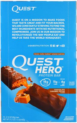 Suplementos, Barras Nutricionales, Deportes Quest Nutrition, Hero Protein Bar, Chocolate Caramel Pecan, 10 Bars, 2.12 oz (60 g) Each