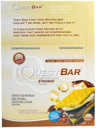 Deportes, Barras De Proteína Quest Nutrition, Protein Bar, Smores, 12 Bars, 2.12 (60 g) Each