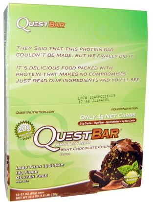 Deportes, Barras De Proteína Quest Nutrition, Quest Bar, Protein Bar, Mint Chocolate, 12 Bars, 2.1 oz (60 g) Each