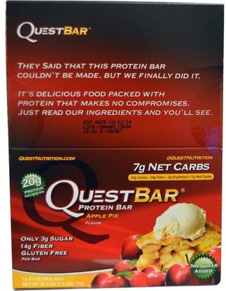 Deportes, Barras De Proteína Quest Nutrition, QuestBar, Protein Bar, Apple Pie, 12 Bars, 2.1 oz (60 g) Each