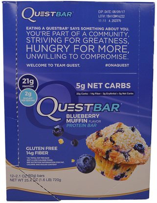 Suplementos, Barras Nutricionales, Barras De Proteína Quest Nutrition, QuestBar, Protein Bar, Blueberry Muffin, 12 Bars, 2.1 oz (60 g) Each