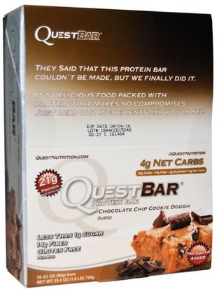 Deportes, Barras De Proteína Quest Nutrition, QuestBar, Protein Bar, Chocolate Chip Cookie Dough, 12 Bars, 2.1 oz (60 g) Each