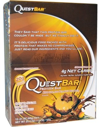 Deportes, Barras De Proteína Quest Nutrition, QuestBar, Protein Bar, Chocolate Peanut Butter, 12 Bars, 2.1 oz (60 g) Each