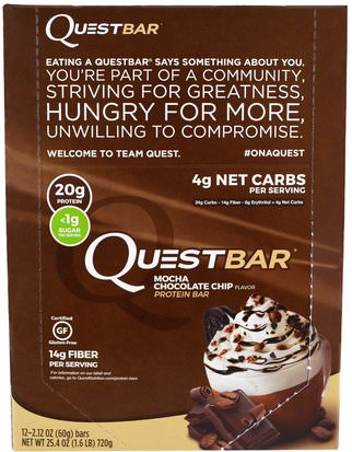 Suplementos, Barras Nutricionales, Deportes Quest Nutrition, QuestBar, Protein Bar, Mocha Chocolate Chip, 12 Bars, 2.12 oz (60 g) Each