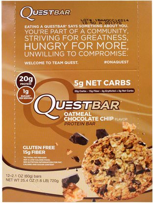 Suplementos, Barras Nutricionales, Barras De Proteína Quest Nutrition, QuestBar, Protein Bar, Oatmeal Chocolate Chip, 12 Bars, 2.1 oz (60 g) Each