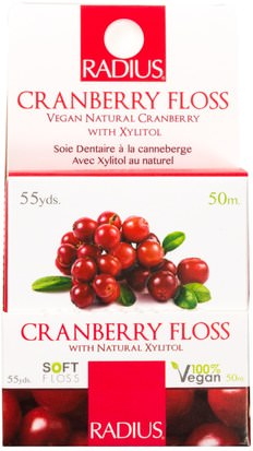 Baño, Belleza, Cuidado Dental Bucal, Hilo Dental, Hilo Dental RADIUS, Vegan Xylitol Cranberry Floss, 55 yds (50 m)