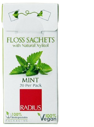 Baño, Belleza, Cuidado Dental Bucal, Hilo Dental, Hilo Dental RADIUS, Vegan Xylitol Mint Floss Sachet, 20 Pack