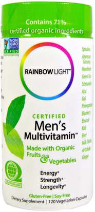 Vitaminas, Hombres, Multivitaminas Rainbow Light, Certified Mens Multivitamin, 120 Veggie Caps