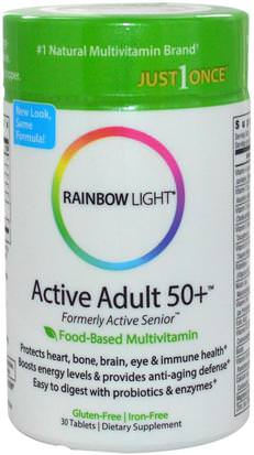 Vitaminas, Hombres Multivitaminas, Mujeres Multivitaminas Rainbow Light, Just Once, Active Adult 50+, Food-Based Multivitamin, 30 Tablets