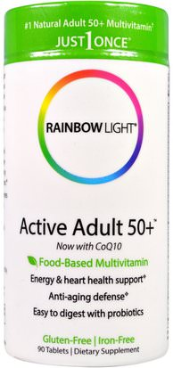 Vitaminas, Hombres Multivitaminas, Mujeres Multivitaminas Rainbow Light, Just Once, Active Adult 50+, Food-Based Multivitamin, 90 Tablets