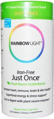 Vitaminas, Hombres Multivitaminas, Mujeres Multivitaminas Rainbow Light, Just Once, Iron-Free, Food-Based Multivitamin, 120 Tablets