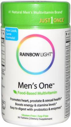 Vitaminas, Hombres Multivitaminas, Apoyo De Próstata Rainbow Light, Just Once, Mens One, Food-Based Multivitamin, 30 Tablets