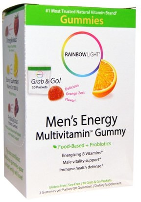 Vitaminas, Hombres Multivitaminas, Productos Sensibles Al Calor Rainbow Light, Mens Energy Multivitamin Gummy, Delicious Orange Zest Flavor, 30 Packets