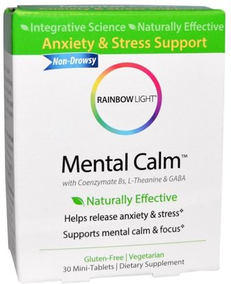 Salud, Anti Estrés, Ansiedad Rainbow Light, Mental Calm, 30 Mini-Tablets