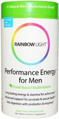 Salud, Energía, Vitaminas, Hombres Multivitaminas Rainbow Light, Performance Energy for Men, Food-Based Multivitamin, 180 Tablets