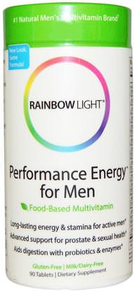 Vitaminas, Hombres, Multivitaminas Rainbow Light, Performance Energy for Men, Food-Based Multivitamin, 90 Tablets