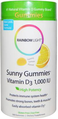 Productos Sensibles Al Calor, Vitaminas, Gomitas De Vitamina D Rainbow Light, Sunny Gummies Vitamin D3, Lemon Flavor, 1,000 IU, 100 Gummies