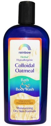 Baño, Belleza, Gel De Ducha Rainbow Research, Colloidal Oatmeal Bath & Body Wash, Unscented Fragrance Free, 12 oz (360 ml)