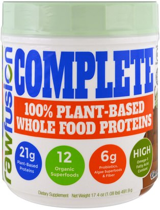 Suplementos, Proteína Raw Fusion, Complete, 100% Plant-Based Whole Food Proteins, Chocolate, 17.4 oz (491.9 g)