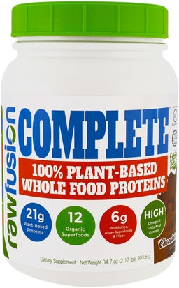 Suplementos, Proteína Raw Fusion, Complete, 100% Plant-Based Whole Food Proteins, Chocolate, 34.7 oz (983.8 g)