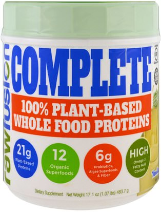 Suplementos, Proteína Raw Fusion, Complete, 100% Plant-Based Whole Food Proteins, Vanilla, 17.1 oz (483.7 g)
