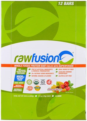 Comida, Tentempiés, Deportes Raw Fusion, Whole Food Protein Bar, Almond Berry, 12 Bars, 2.5 oz (70 g) Each