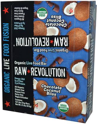 Alimentos, Refrigerios, Bocadillos Saludables, Suplementos, Barras Nutricionales Raw Revolution, Organic Live Food Bar, Chocolate Coconut Bliss, 12 Bars, 1.8 oz (51 g) Each