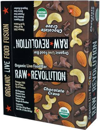 Alimentos, Refrigerios, Bocadillos Saludables, Suplementos, Barras Nutricionales Raw Revolution, Organic Live Food Bar, Chocolate Crave, 12 Bars, 1.8 oz (51 g) Each