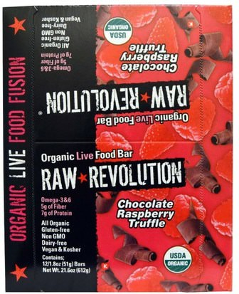 Alimentos, Refrigerios, Bocadillos Saludables, Suplementos, Barras Nutricionales Raw Revolution, Organic Live Food Bar, Chocolate Raspberry Truffle, 12 Bars, 1.8 oz (51 g) Each