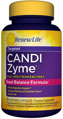Suplementos, Enzimas, Salud, Candida Renew Life, CandiZyme, Targeted, 90 Vegetable Capsules