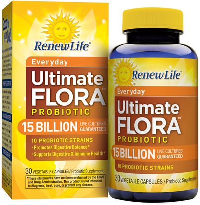 Suplementos, Probióticos, Probióticos Estabilizados Renew Life, Everyday, Ultimate Flora Probiotic, 15 Billion Live Cultures, 30 Vegetable Capsules