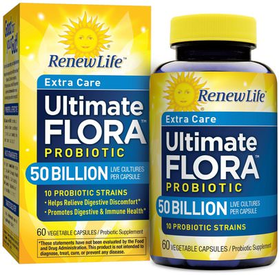 Suplementos, Probióticos, Probióticos Estabilizados Renew Life, Extra Care, Ultimate Flora Priobiotic, 50 Billion Live Cultures, 60 Vegetable Capsules